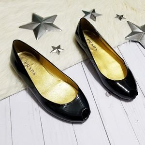 Prada peep toe flats black patent leather open toe